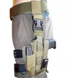 Olive tactical drop leg, left side